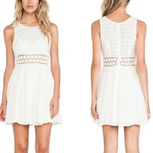 Free People Daisy Floral Cutout Dress SZ 6 Ivory